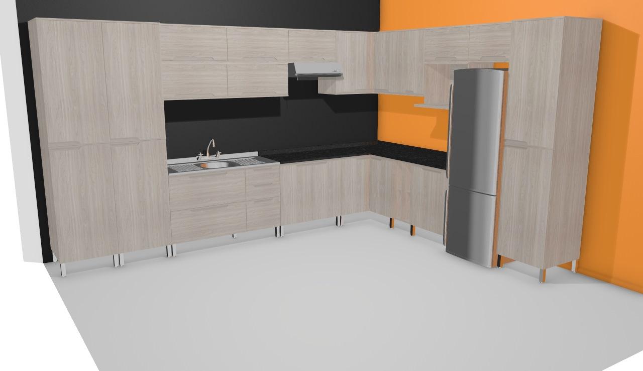 Cozinha Modulada Completa Com 19 M Dulos Solaris Carvalle Preto