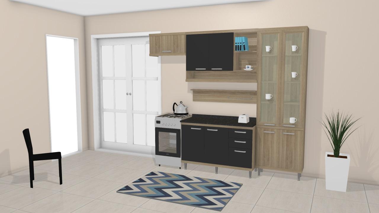 Cozinha Modulada Completa 4 M Dulos Com Paneleiro Com Porta De Vidro