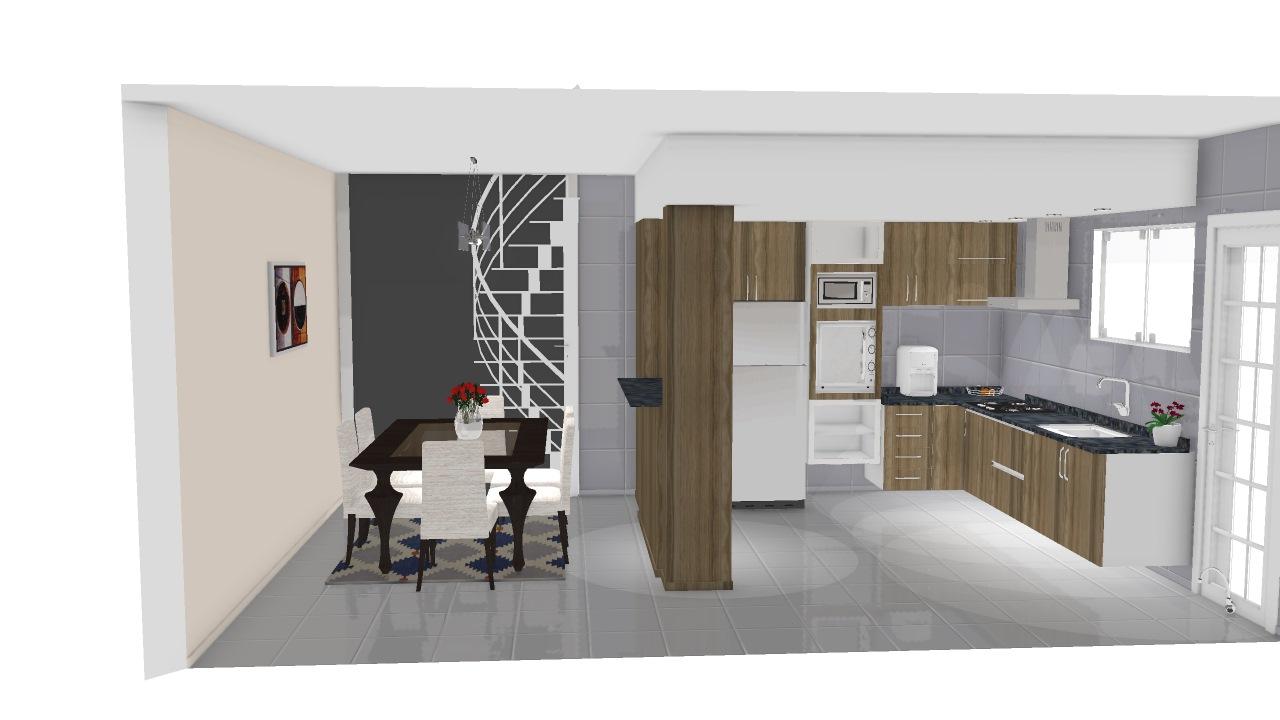Cozinha Americana Interligada Sala De Jantar Planta 3d Mooble