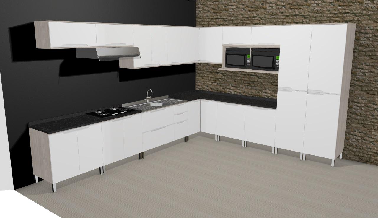 Cozinha Modulada Completa Com 16 M Dulos Solaris Carvalle Branco