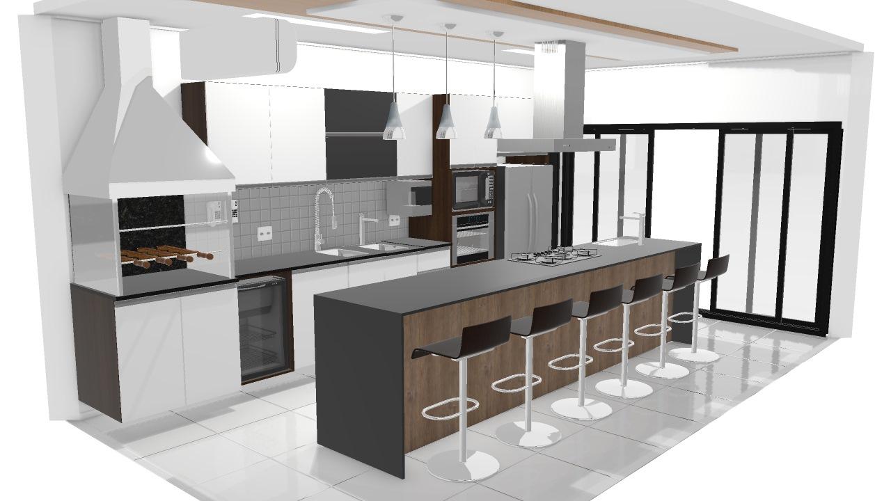 Cozinha Gourmet De Rodrigo Planta 3d Mooble