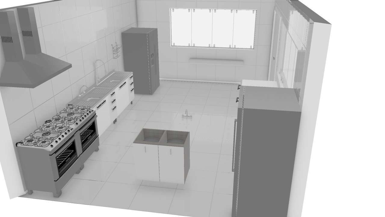 Cozinha Industrial De Mariana Planta 3d Mooble