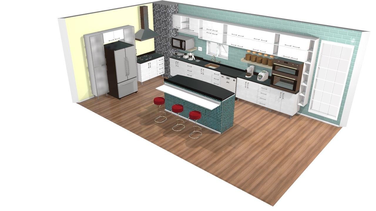 Cozinha Com Ilha Central E Bancada De Henrique Planta 3d Mooble
