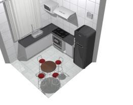 Cozinha com mesa de jantar, 4 cadeiras
