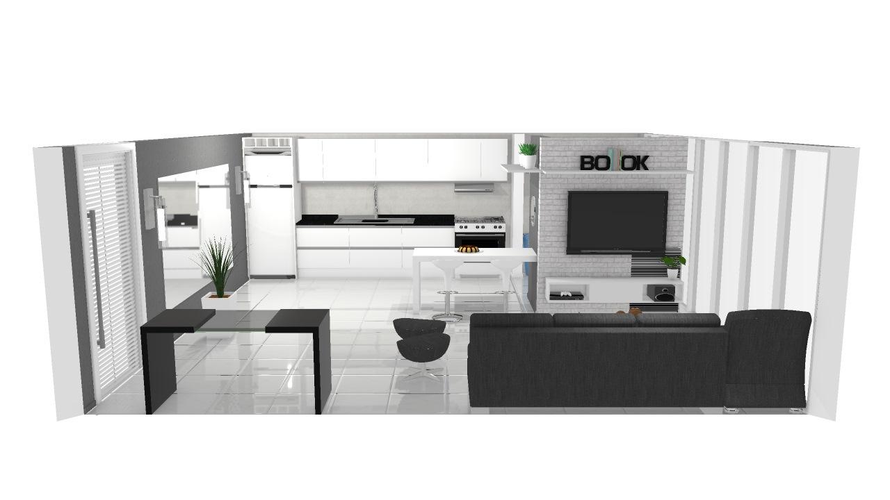 Sala, cozinha e lavanderia integradas