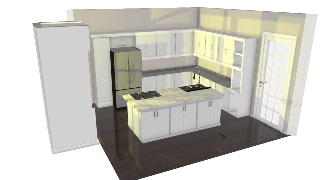 Cozinha Simples Com Ilha Central De Henrique Planta 3d Mooble