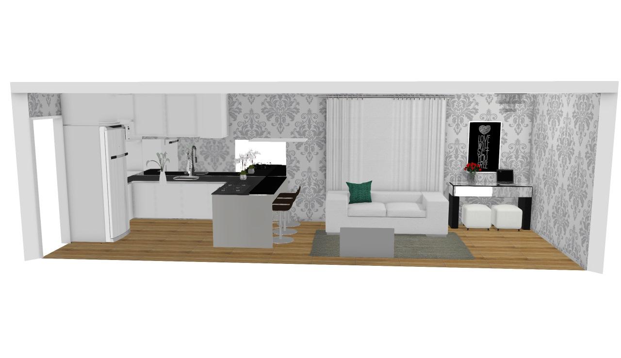 Cozinha Falsa Ilha Planta 3d Mooble