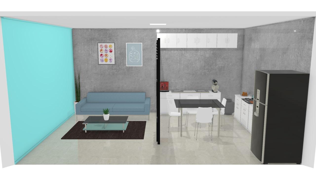 Sala E Cozinha Junto 1 De Ana Planta 3d Mooble Politorno