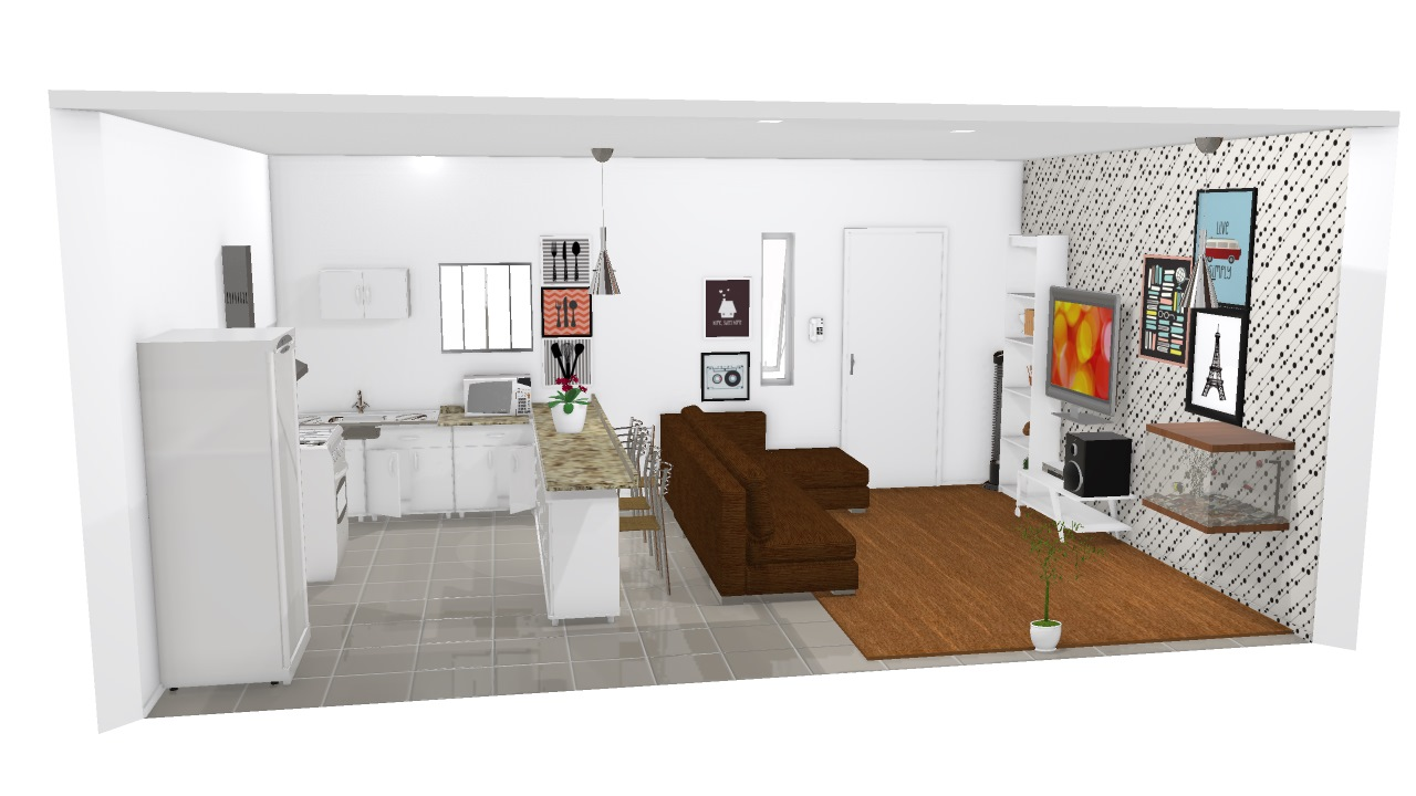 Sala Cozinha Americana De Thamires Planta 3d Mooble Politorno