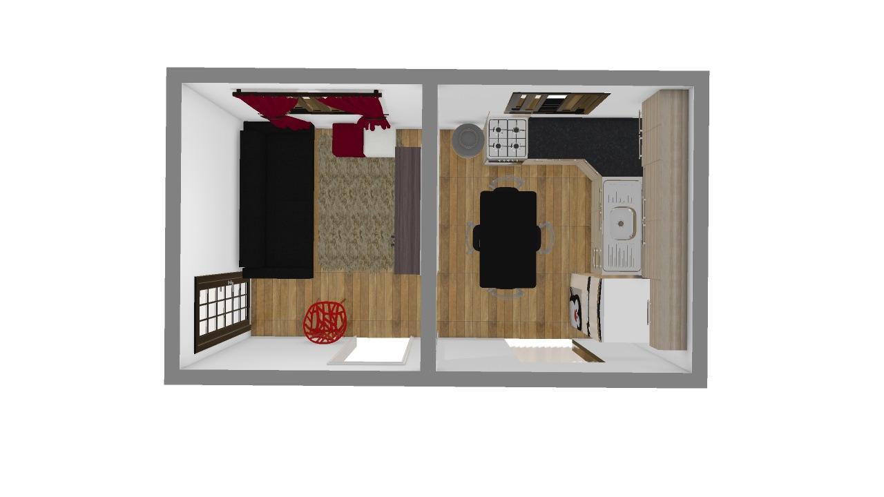 sala e quarto pequeno
