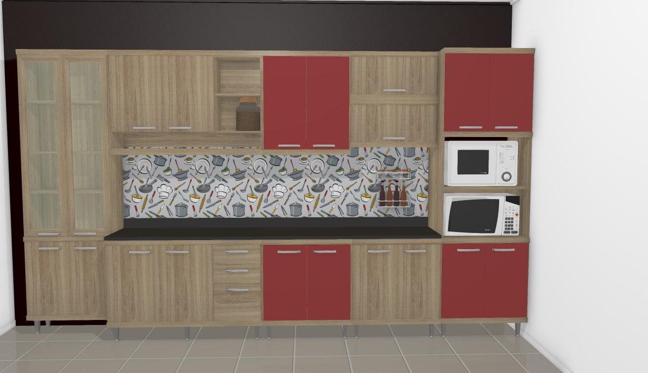 Cozinha Modulada Completa 9 M Dulos Sic Lia Argila Vermelho