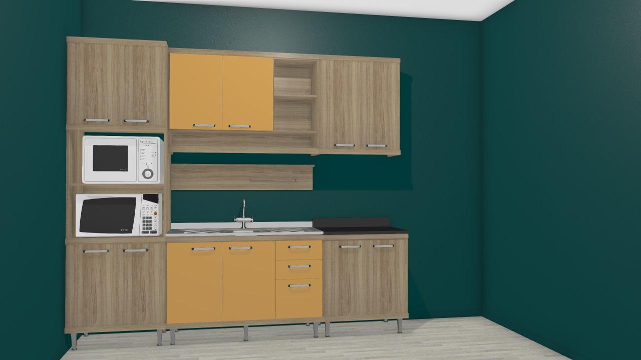 Cozinha Modulada Completa 5 M Dulos Sic Lia Argila Amarelo