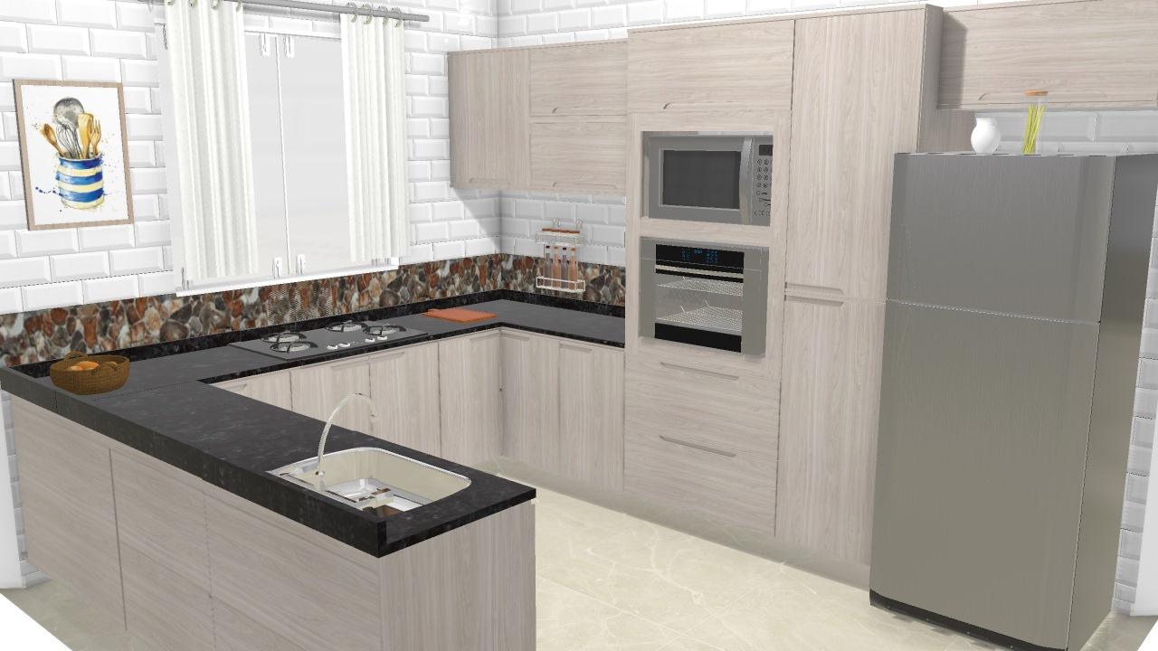 Cozinha Em U Kappesberg De K Mely Planta 3d Mooble Lojaskd
