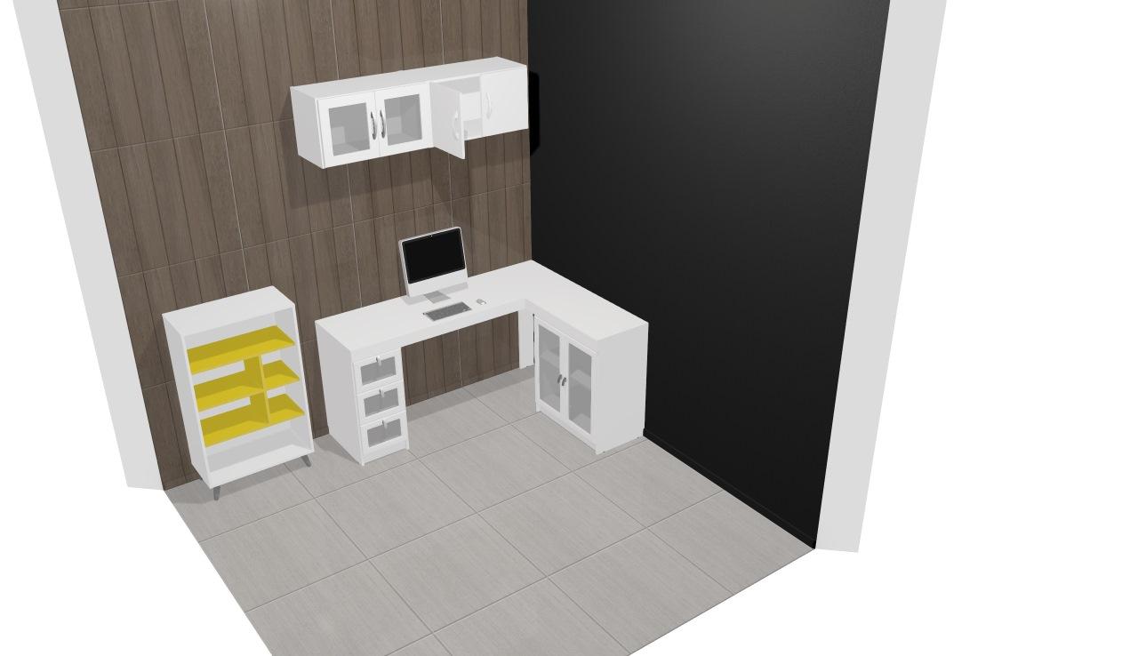 Conjunto para Home Office/Quarto Escritório com Mesa para Computador/Escrivaninha, Estante e Armários Aéreos Branco/Amarelo - Politorno