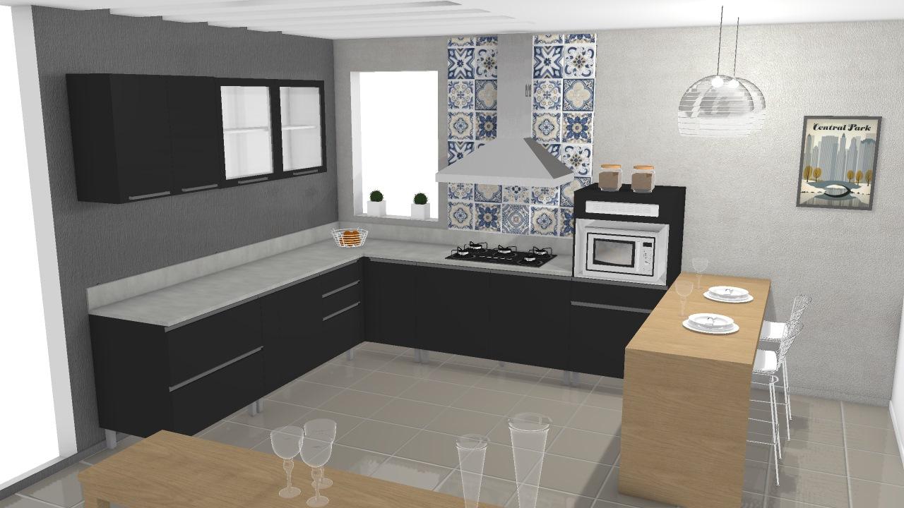 Cozinha Gourmet 01 Chumbo Agata 2 De Robenilson Planta 3d Mooble