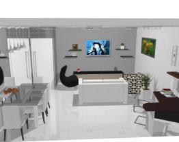 Sala de estar, jantar e escritório.