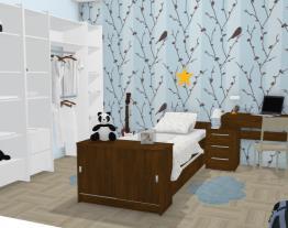 Dormitório infantil com criado mudo na mesa