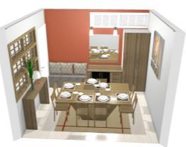 sala de jantar cinza