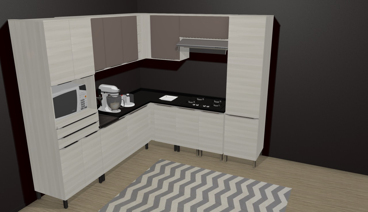 Cozinha Modulada Completa 9 M Dulos Versatti Nacre Moka Kappesberg