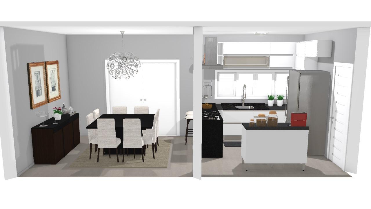 Projeto Cozinha Americana Jantar Incompleta De Aline Planta 3d