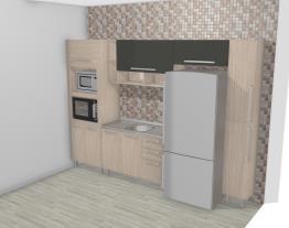 Cozinha Modulada Completa com Armário aéreo 1 Porta Basculante com Nichos Smart Fendi/Amarula - Henn