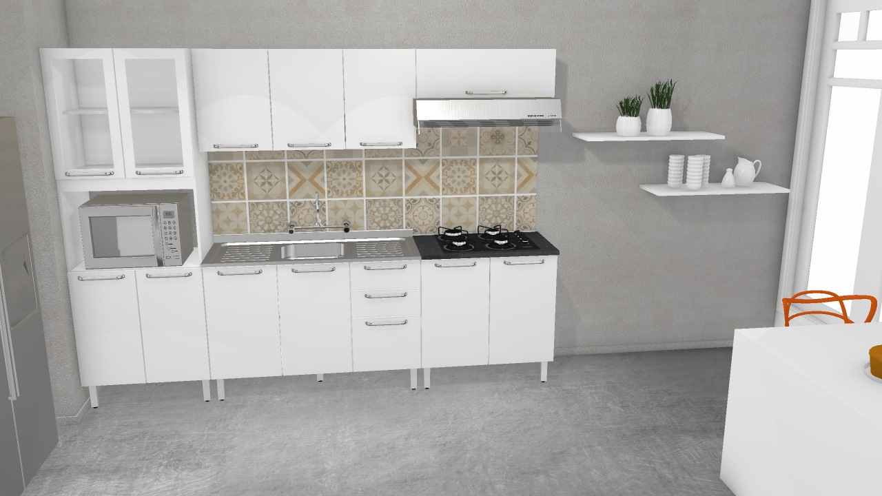 Cozinha Cacau Carvalho Branco De Itatiaia Planta 3d Mooble Itatiaia