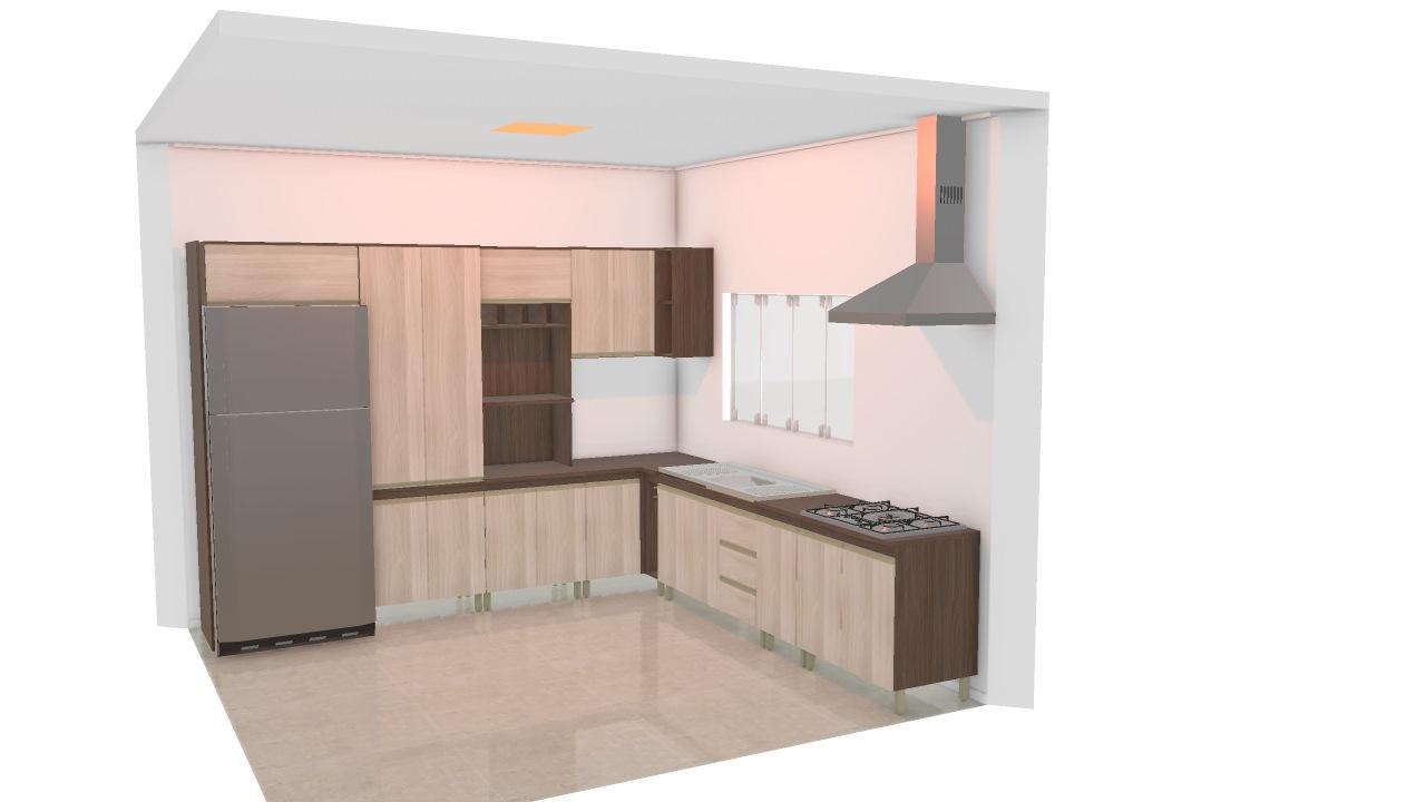 Cozinha Canto Reto Geladeira Revestida De Velin Planta 3d Mooble