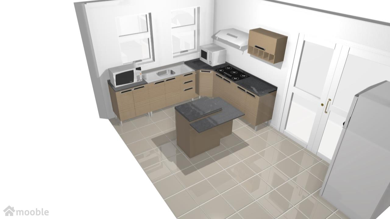 Cozinha Jazz Cooktop Forno E Micro E Ilha De Cl Udia Planta 3d