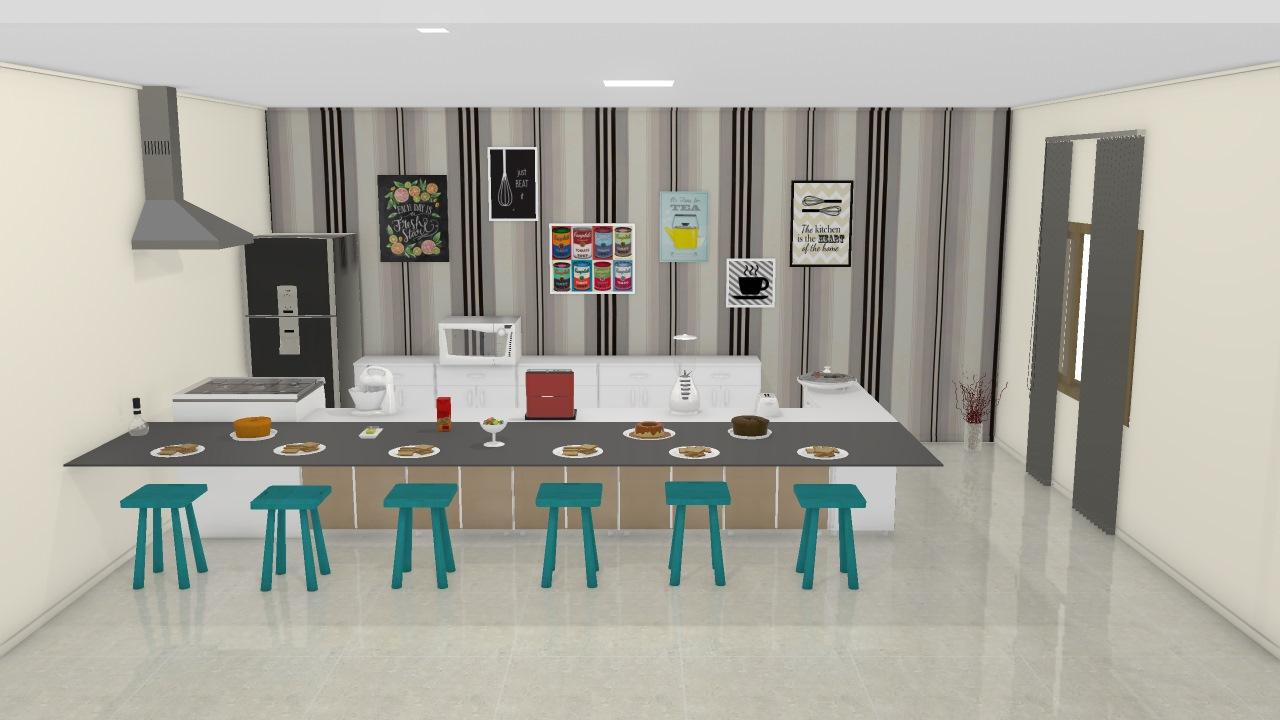 Cozinha Basica Moderna Fofa Para Morar Cm Amigos Ou Familia Grande