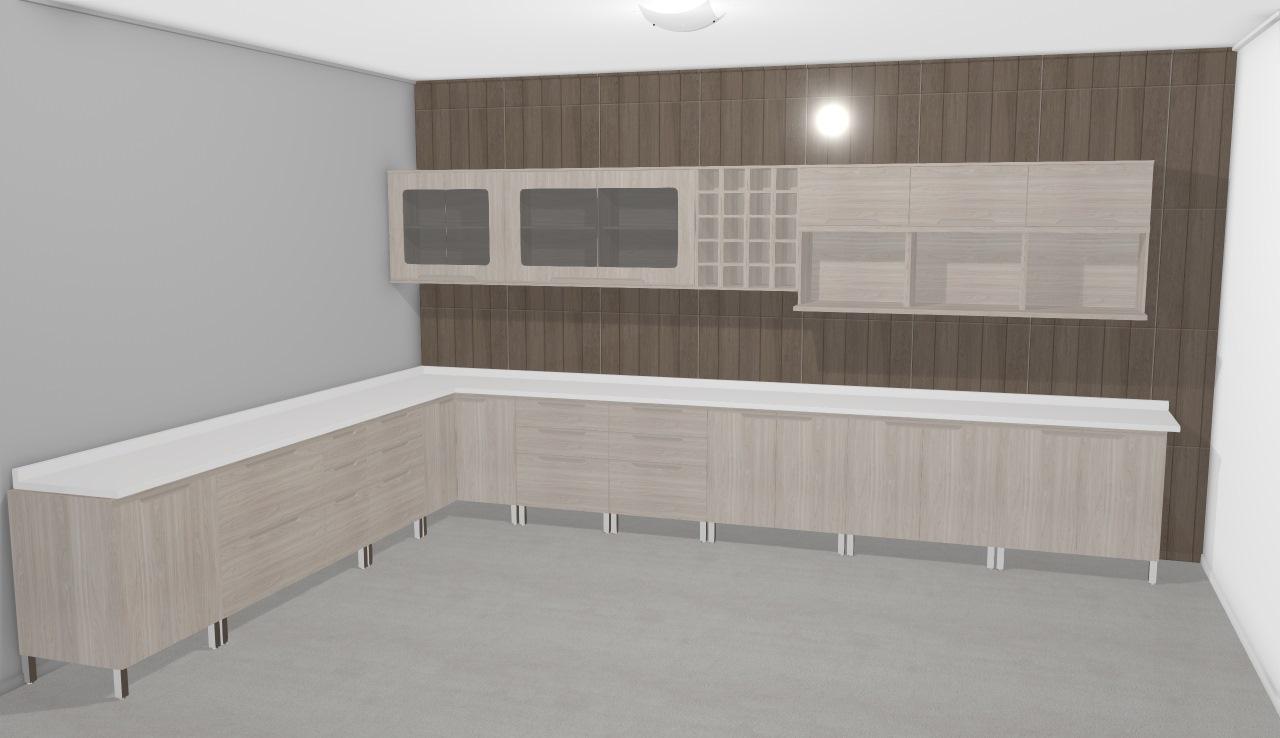Cozinha Modulada Completa Com 21 M Dulos Solaris Carvalle Branco