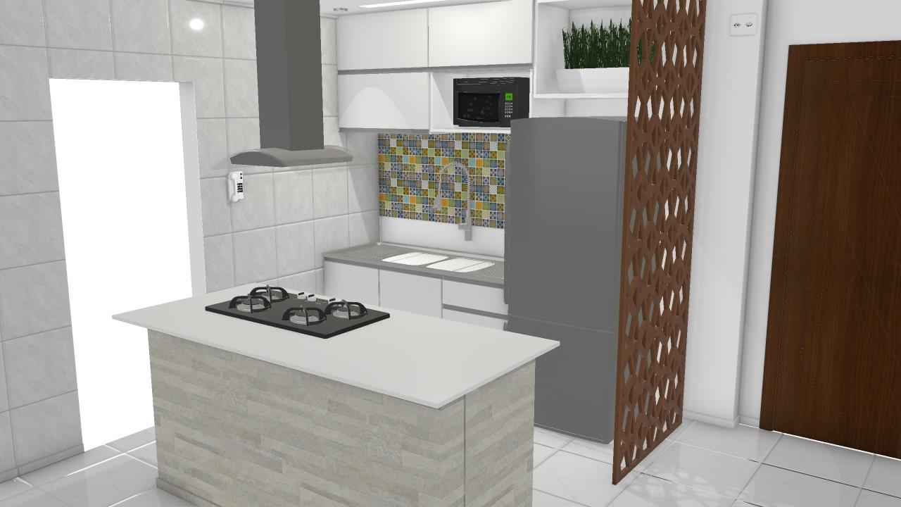 Cozinha Ilha De Kleber Planta 3d Mooble