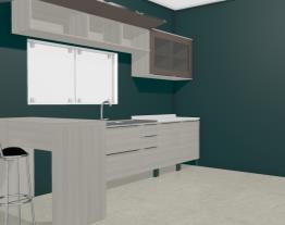 Cozinha Modulada com 8 Módulos e Mesa de Apoio Versatti Nacre/Moka - Kappesberg