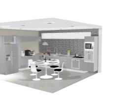 Cozinha prata c mesa