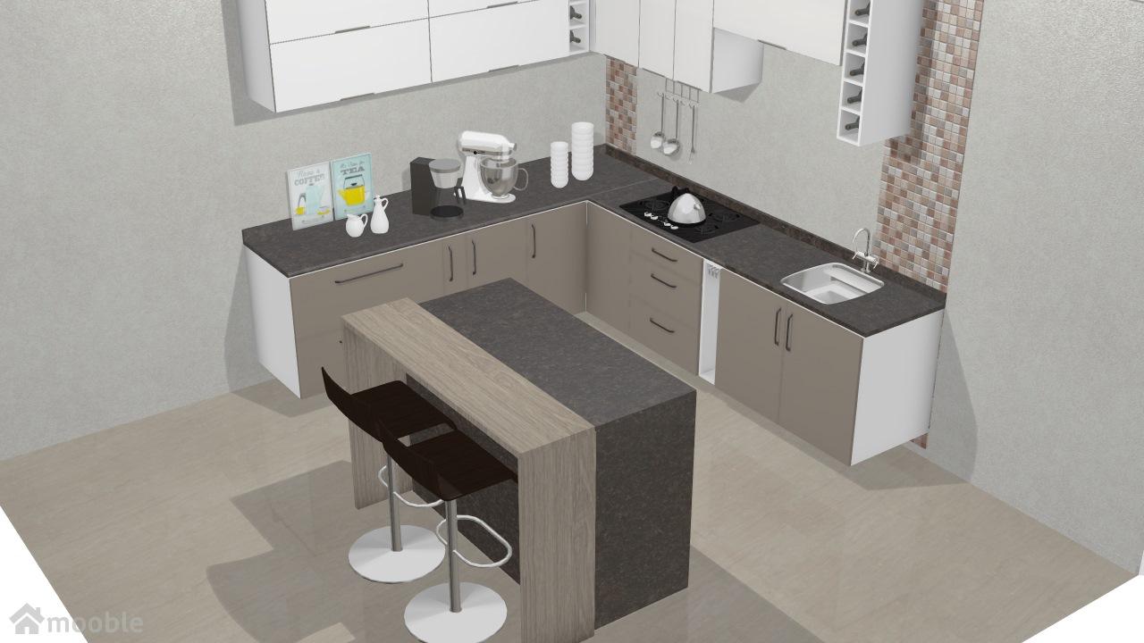 Cozinha Saint Troper Com Ilha De Rodolfo Planta 3d Mooble Leroy Merlin