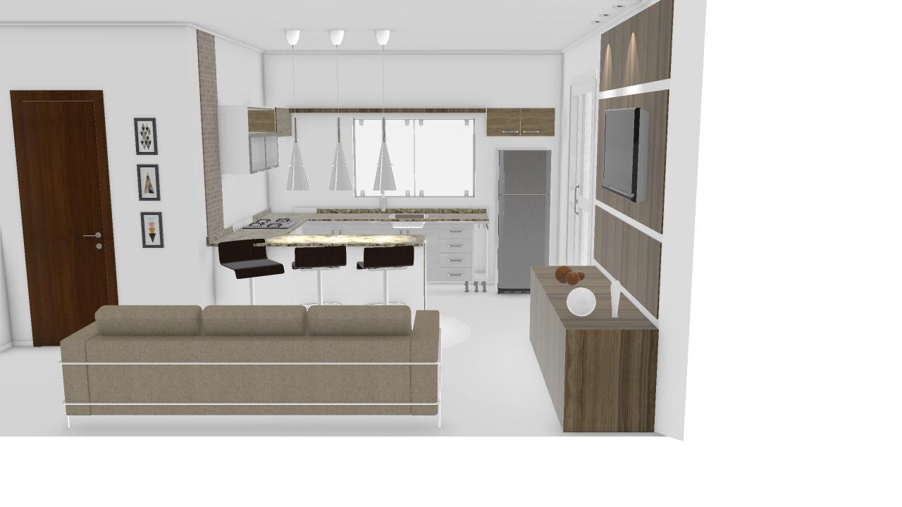 Sala E Cozinha Americana De Jessica Planta 3d Mooble Politorno