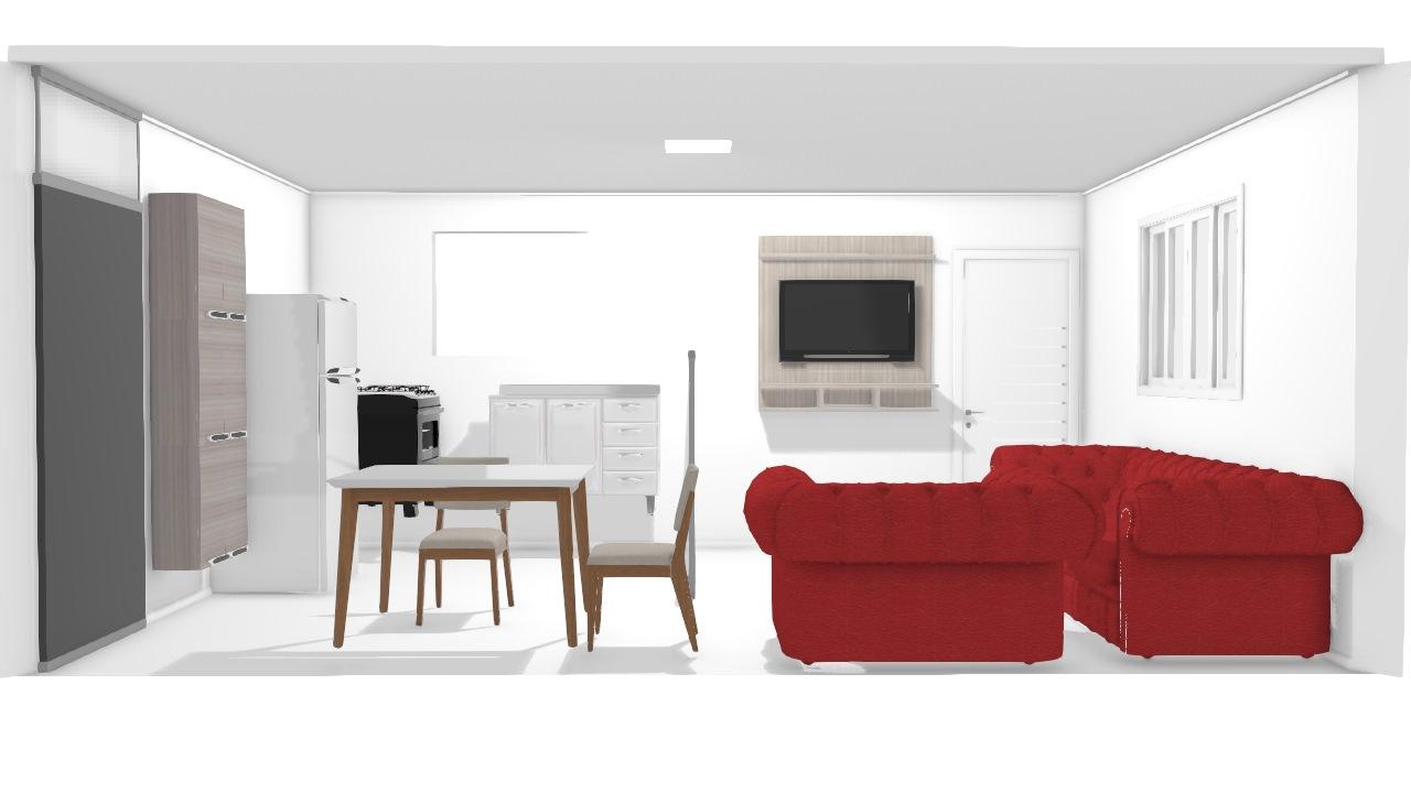 Sala E Cozinha Estilo Americana De Leticia Planta 3d Mooble