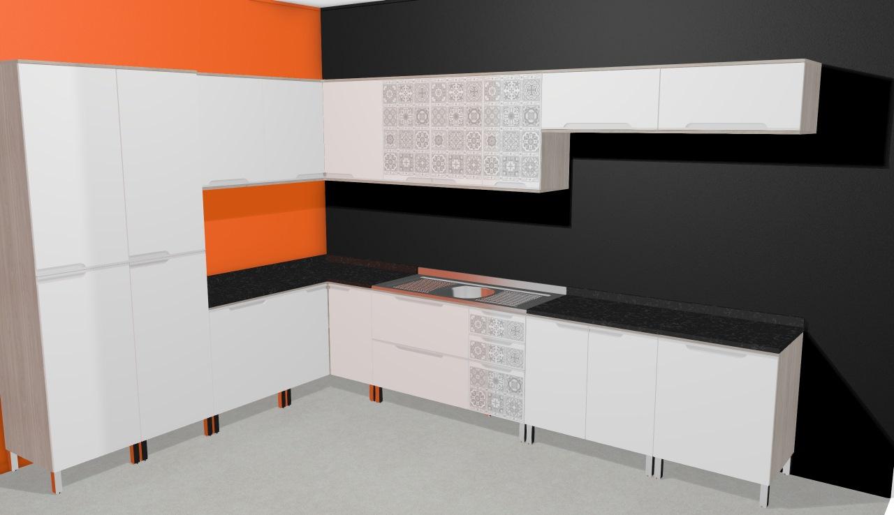 Cozinha Modulada Completa com 12 Módulos Solaris 100% MDF Carvalle/Branco/Azulejo Lacca - Kappesberg