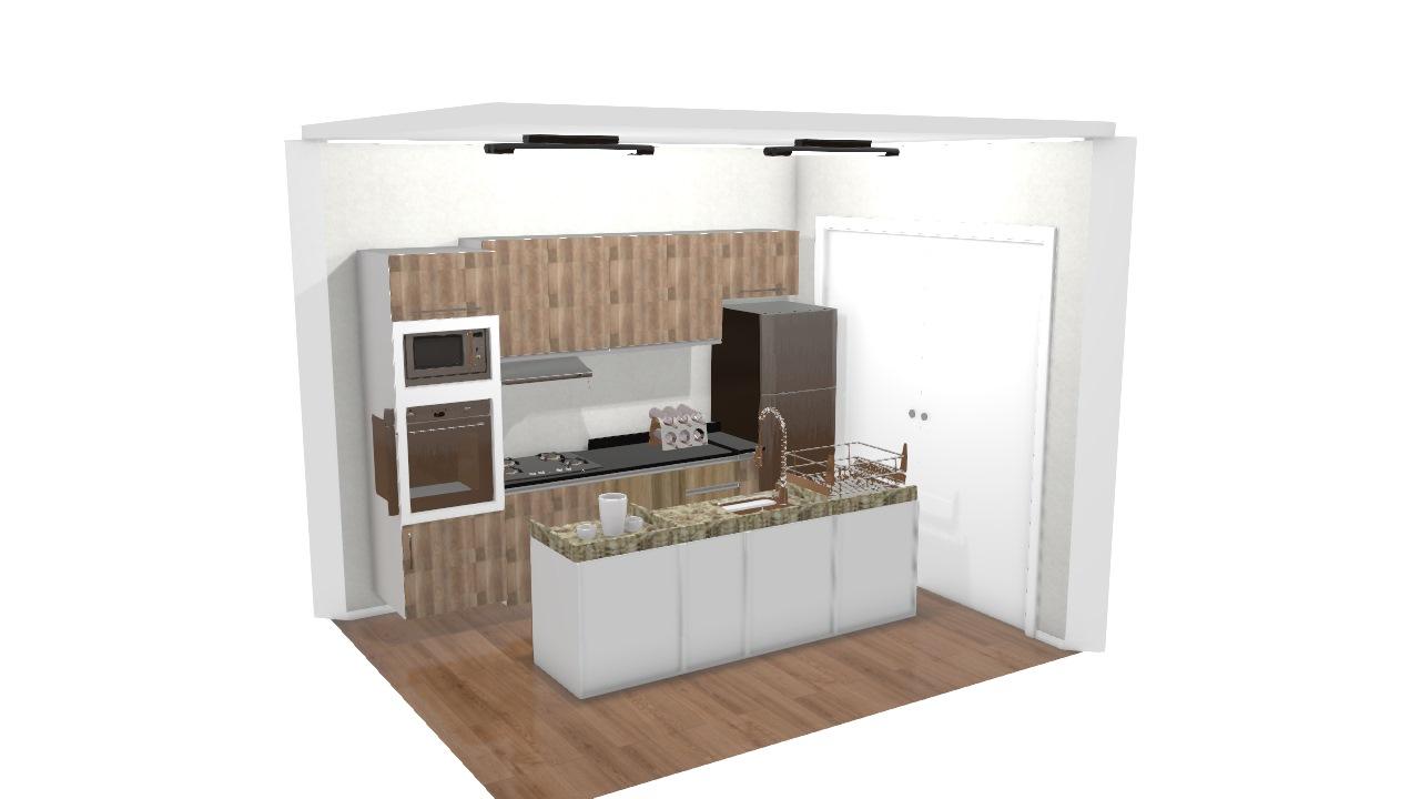 Projeto Cozinha Com Ilha De Thalita Planta 3d Mooble Leroy Merlin