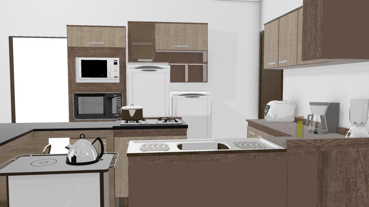 Sala Cozinha Com Ilha De Cristiane Planta 3d Mooble Decibal