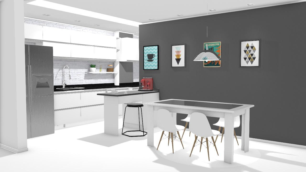 Cozinha Americana E Sala De Jantar De Camila Planta 3d Mooble