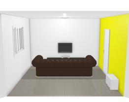 sala de tv com geladeira num canto