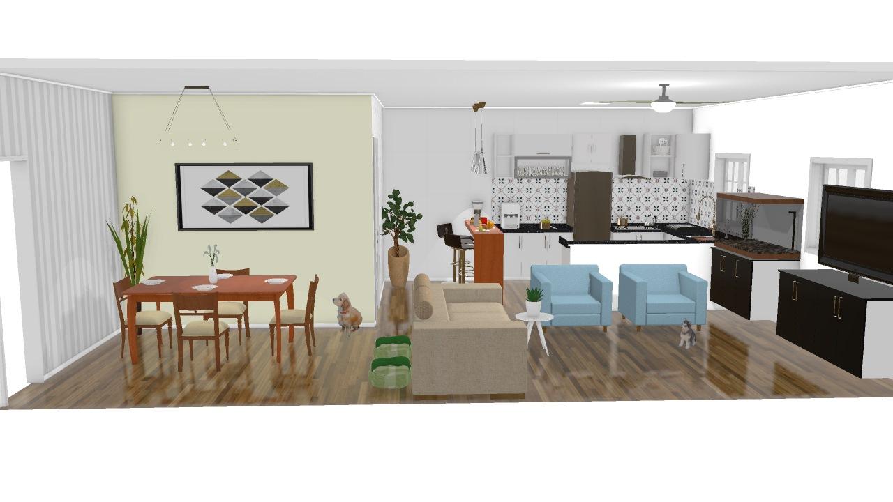 Cozinha Americana E Sala 2 De Daniel Planta 3d Mooble Leroy Merlin