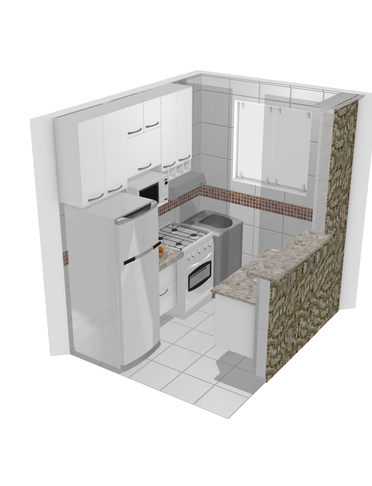 cozinha apartamento inteiro branco