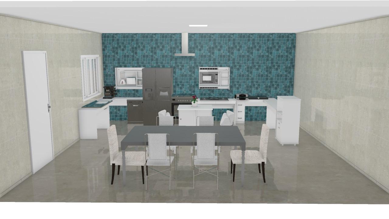 Cozinha Moderna Com Ilha De Isadora Planta 3d Mooble Politorno