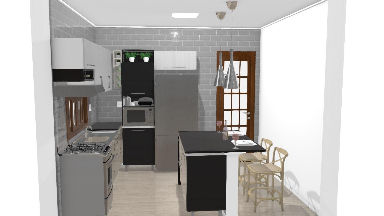 Cozinha Com Ilha E Bancada De Keity Planta 3d Mooble