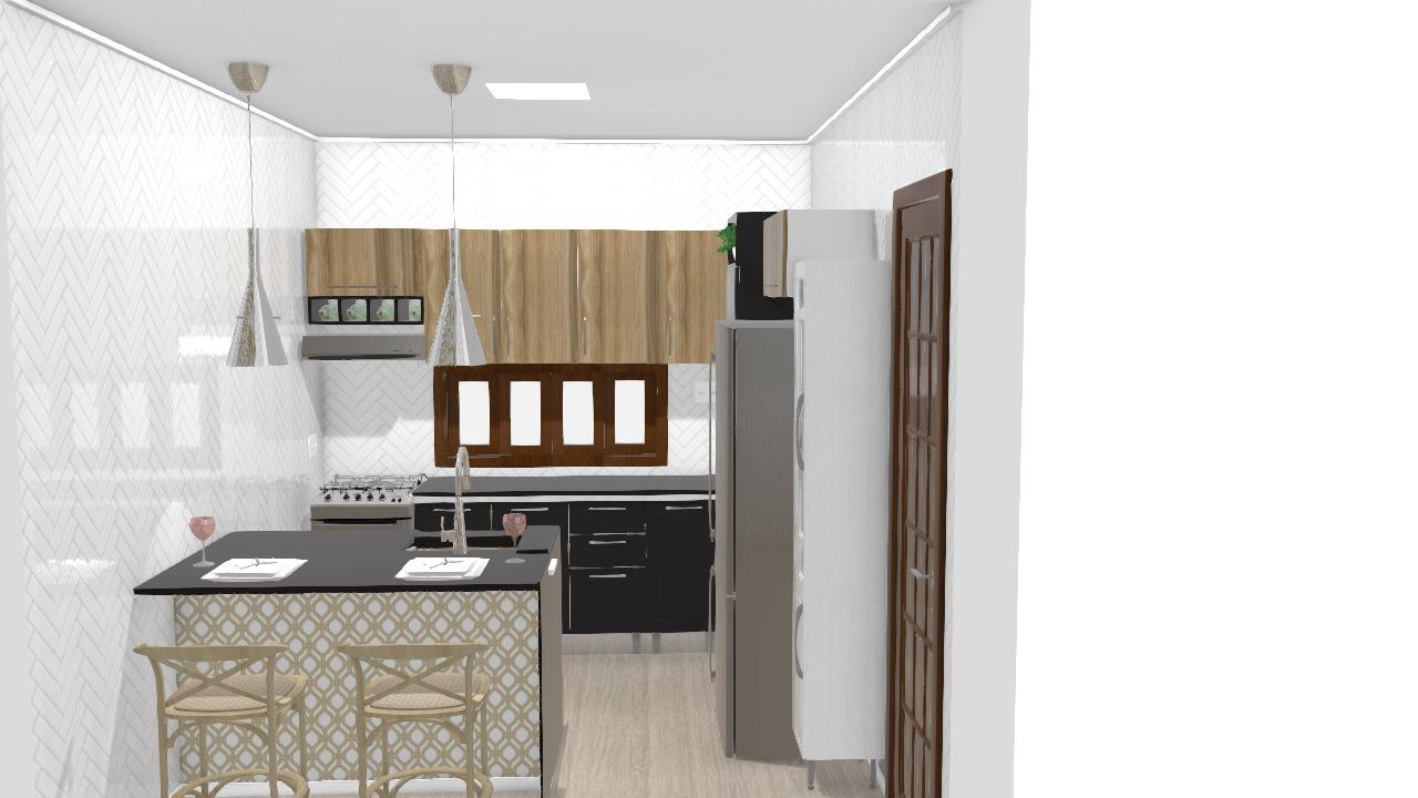 Cozinha Pia Na Ilha De Keity Planta 3d Mooble