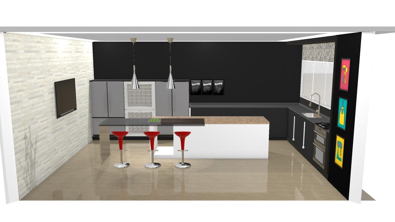 Cozinha Industrial Moderna Conceitual Etc De Fellipe Planta 3d