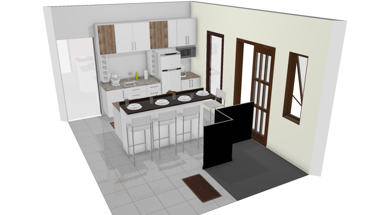 Cozinha Com Ilha Planta 3d Mooble Leroy Merlin