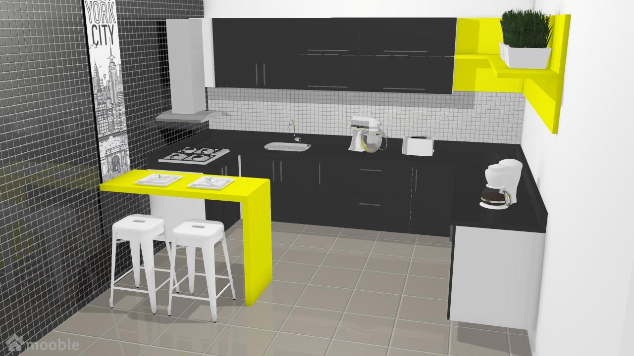 Cozinha Paris Amarela E Preta De Amanda Planta 3d Mooble Leroy Merlin