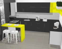 Cozinha Paris Amarela e Preta